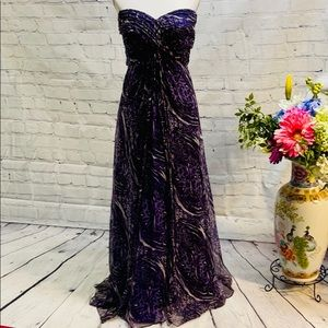 Tadashi Collection Purple & Black Strapless Gown-Size 12